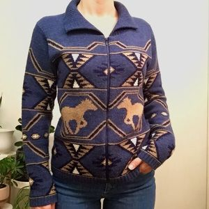 Vintage Wild Horses Sweater Full Zip - Small